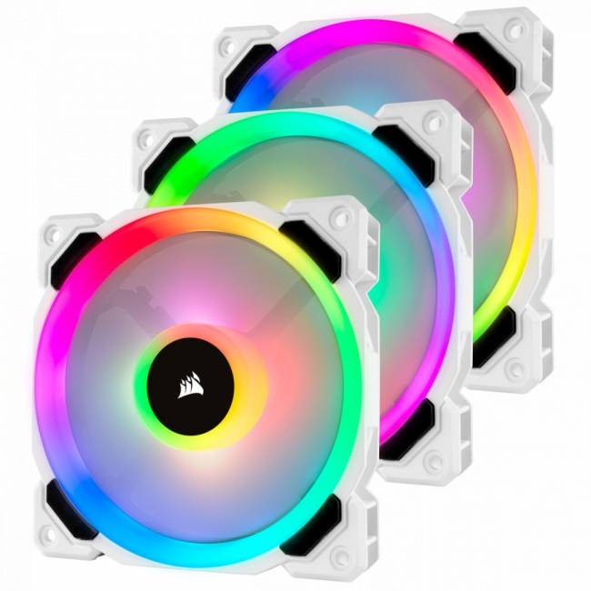 LL120 RGB 120mm Dual Light Loop White RGB LED PWM Fan - Triple Pack with Lighting Node Pro
