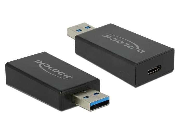 Converter USB 3.1 Gen 2 Type-A male > USB Type-C female Active Black