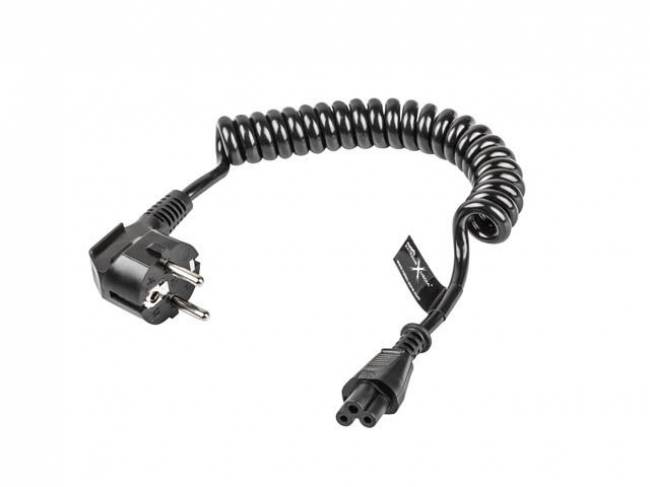 Coiled power cord for laptop Black