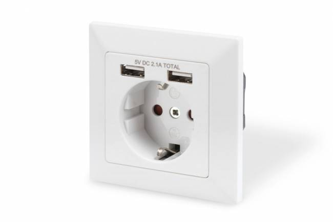 Safety Wall Outlet, 2x USB, USB output total: